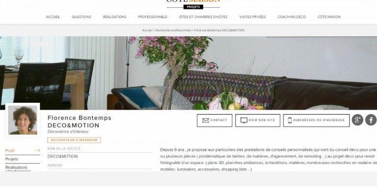 Retrouvez moi sur COTE MAISON – Florence Bontemps DECOEMOTION