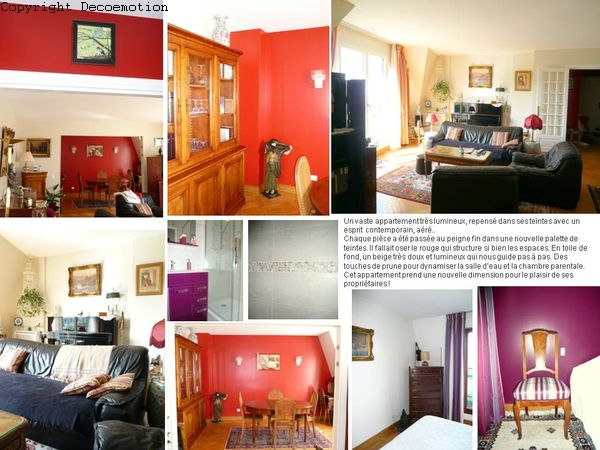 Appartement à Charenton. nouvelle palette de teintes - tissus - sièges - rideaux