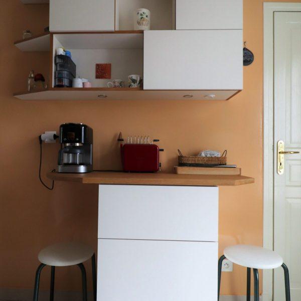 1 meuble cuisine blanc et chêne